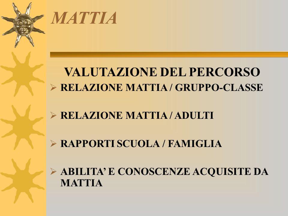 MATTIA VALUTAZIONE DEL PERCORSO RELAZIONE MATTIA / GRUPPO-CLASSE
