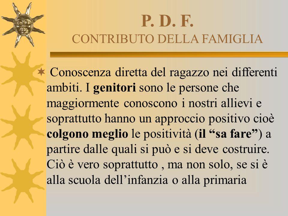 P. D. F. CONTRIBUTO DELLA FAMIGLIA