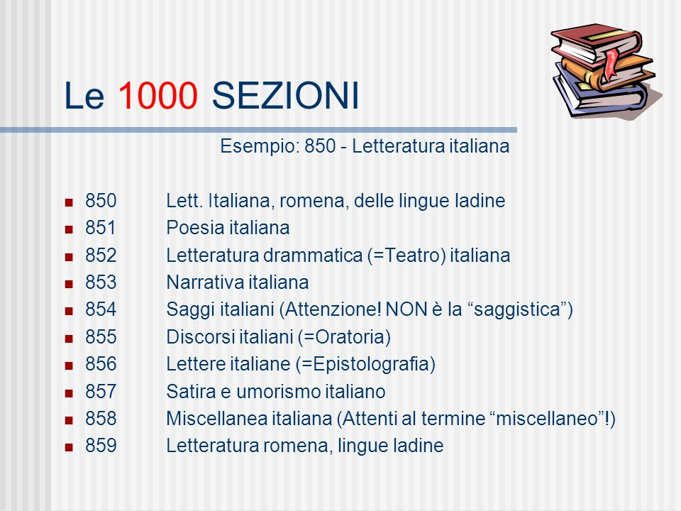 Esempio: 850 - Letteratura italiana