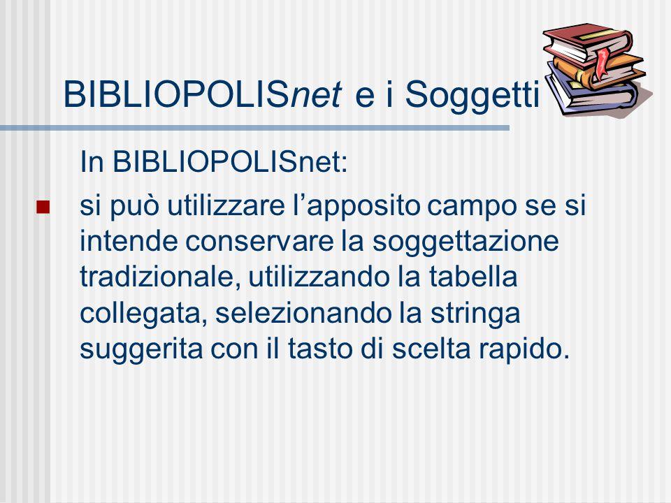 BIBLIOPOLISnet e i Soggetti