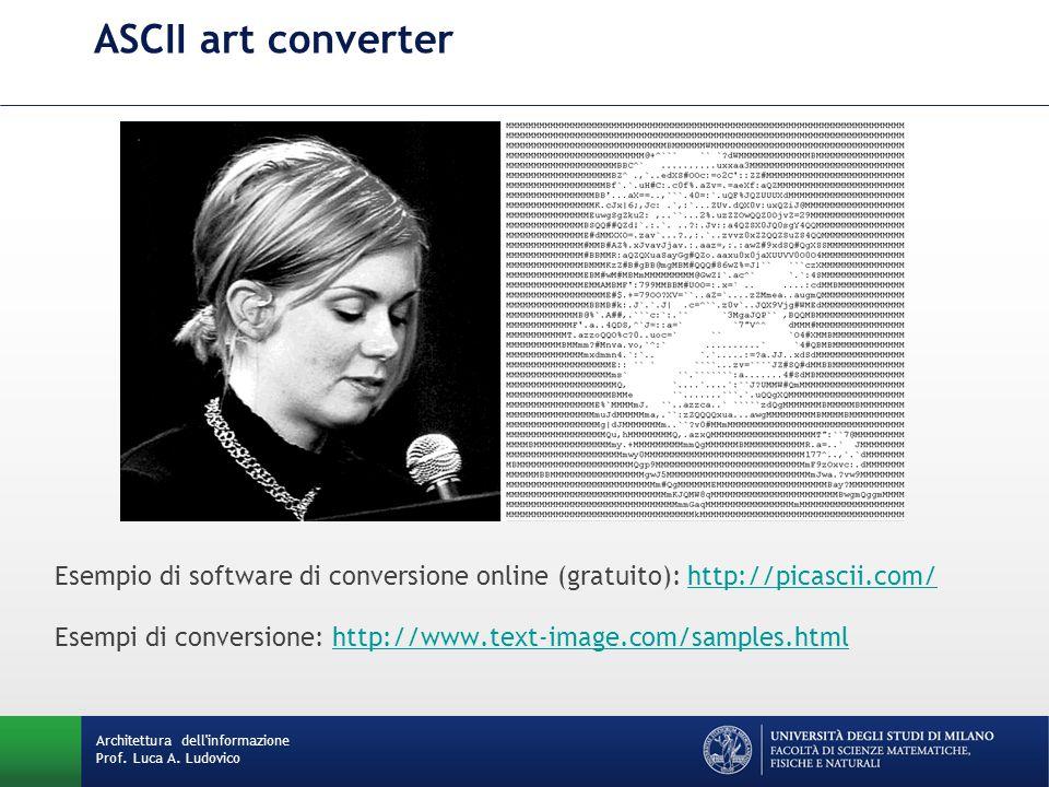 ASCII art converter Esempio di software di conversione online (gratuito): http://picascii.com/