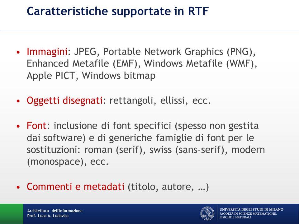 Caratteristiche supportate in RTF