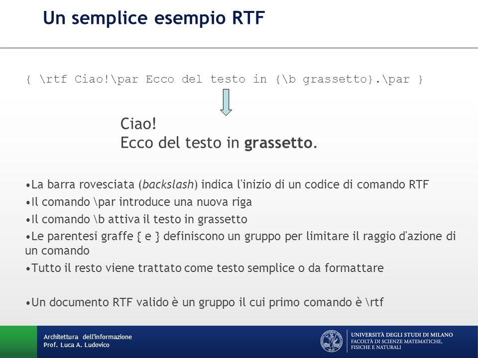 Un semplice esempio RTF