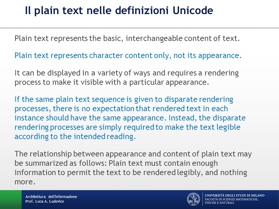 Il plain text nelle definizioni Unicode