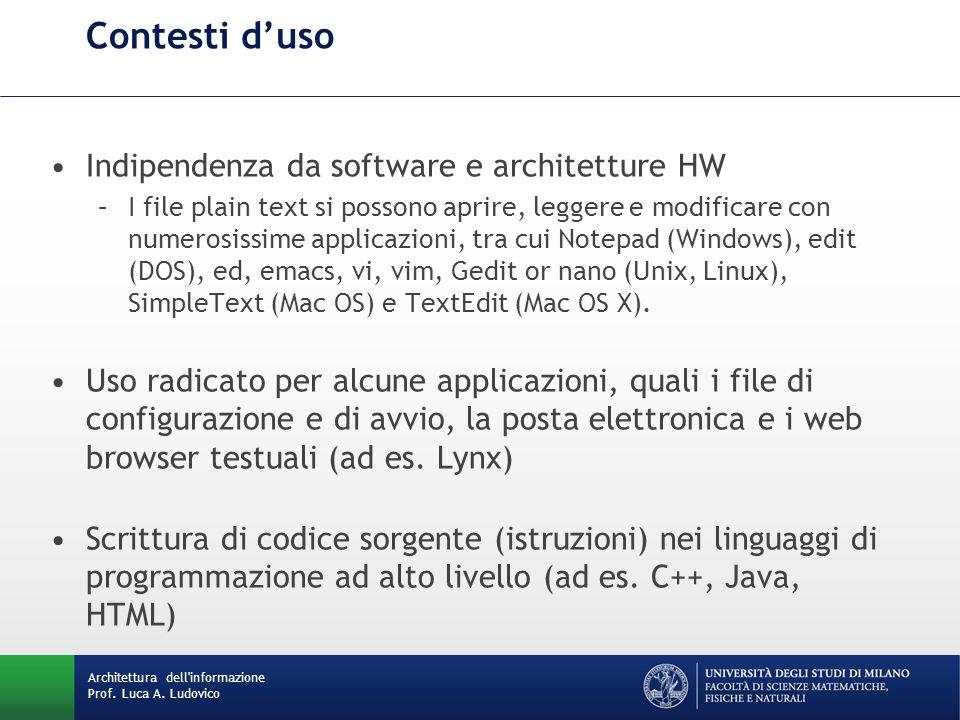 Contesti d'uso Indipendenza da software e architetture HW