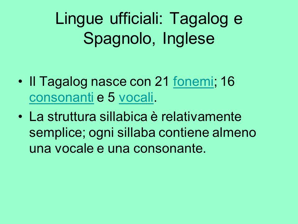 Lingue ufficiali: Tagalog e Spagnolo, Inglese