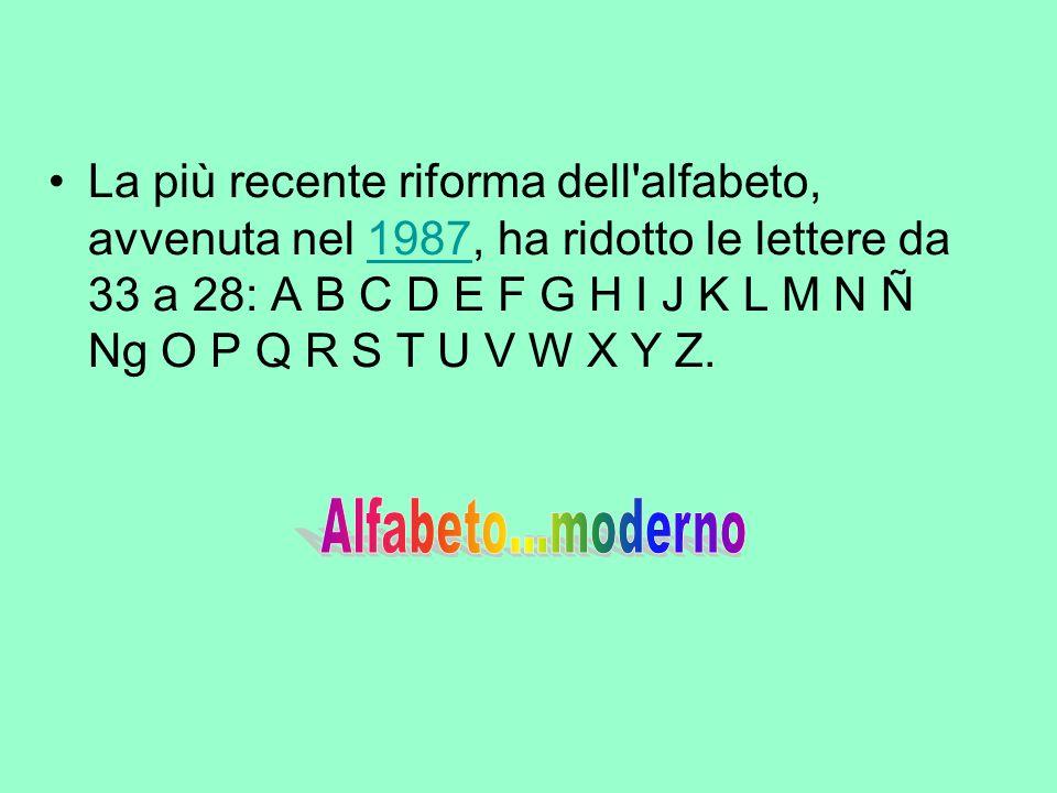 La più recente riforma dell alfabeto, avvenuta nel 1987, ha ridotto le lettere da 33 a 28: A B C D E F G H I J K L M N Ñ Ng O P Q R S T U V W X Y Z.
