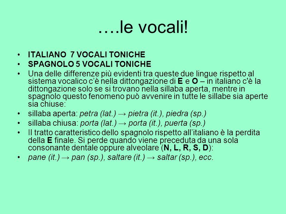 ….le vocali! ITALIANO 7 VOCALI TONICHE SPAGNOLO 5 VOCALI TONICHE