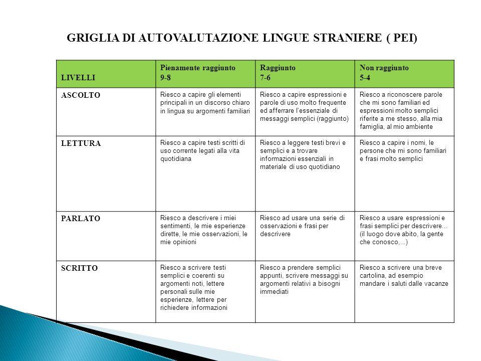 GRIGLIA DI AUTOVALUTAZIONE LINGUE STRANIERE ( PEI)