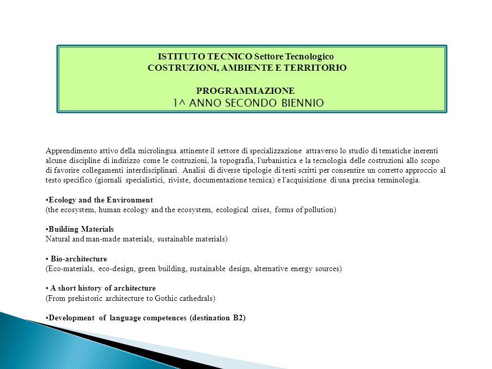 1^ ANNO SECONDO BIENNIO ISTITUTO TECNICO Settore Tecnologico