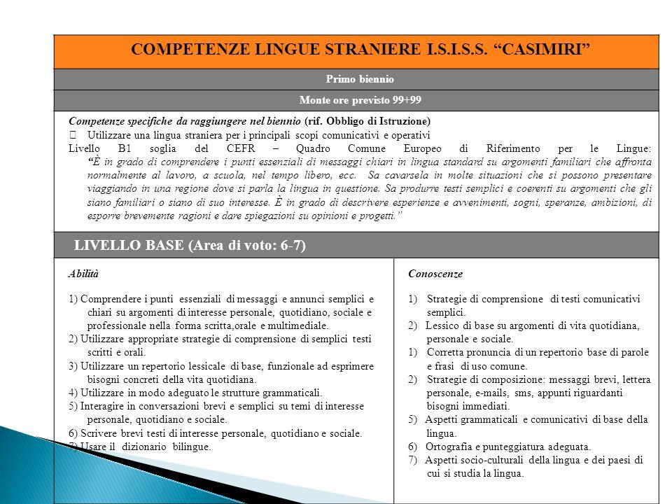 COMPETENZE LINGUE STRANIERE I.S.I.S.S. CASIMIRI
