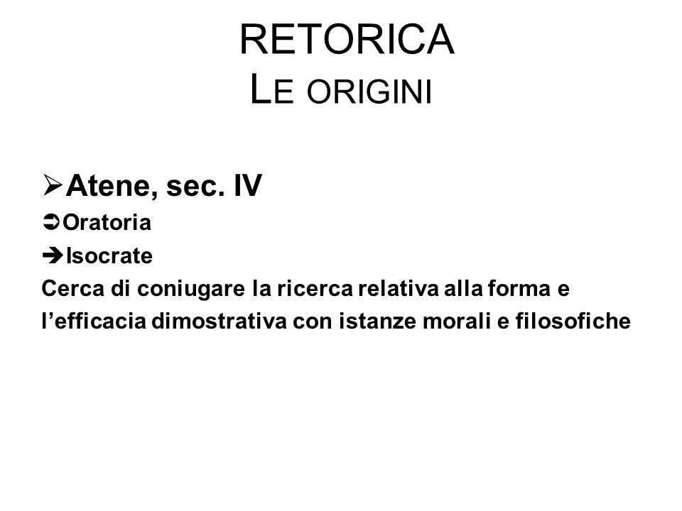 Retorica Le origini Atene, sec. IV Oratoria Isocrate