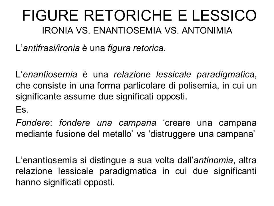 Figure retoriche e lessico ironia vs. enantiosemia vs. antonimia