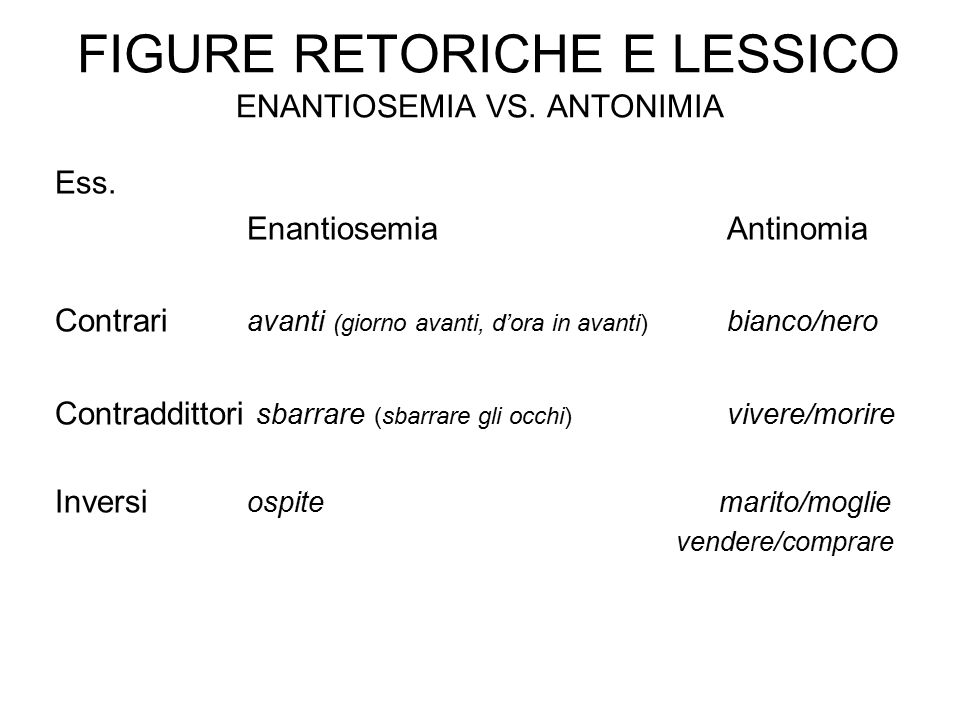 Figure retoriche e lessico enantiosemia vs. antonimia