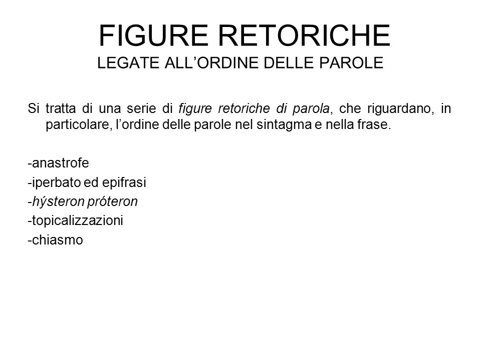 Figure retoriche legate all'ordine delle parole