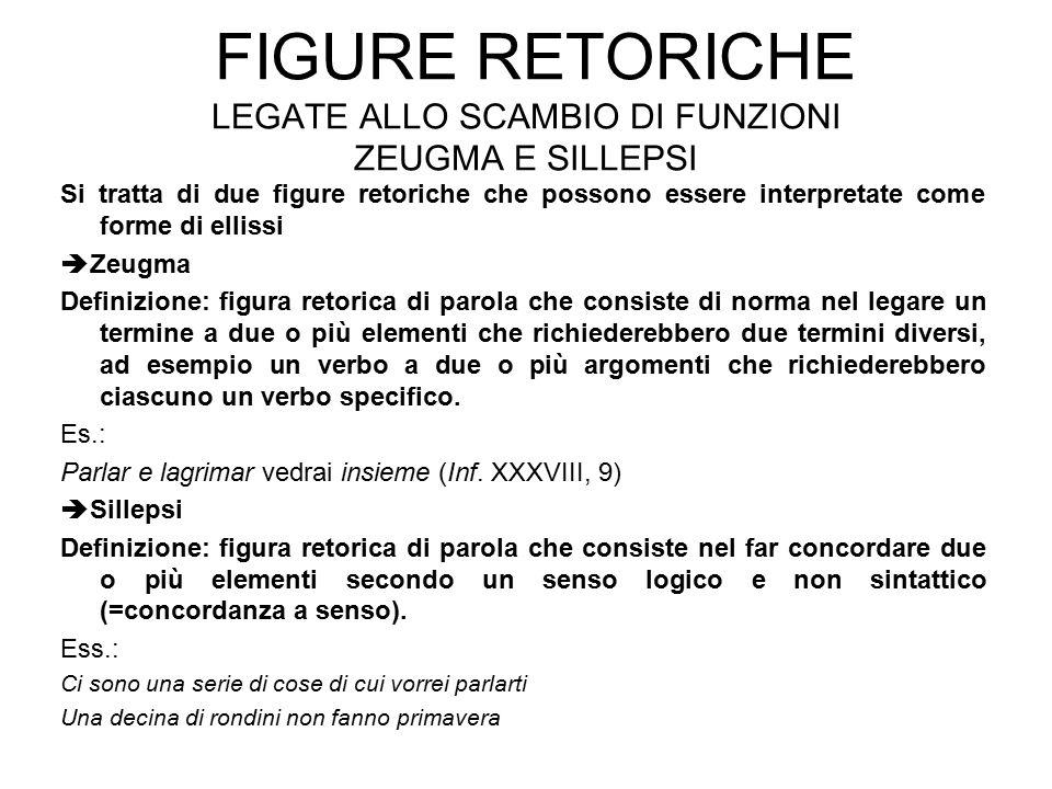 Figure retoriche legate allo scambio di funzioni zeugma e sillepsi
