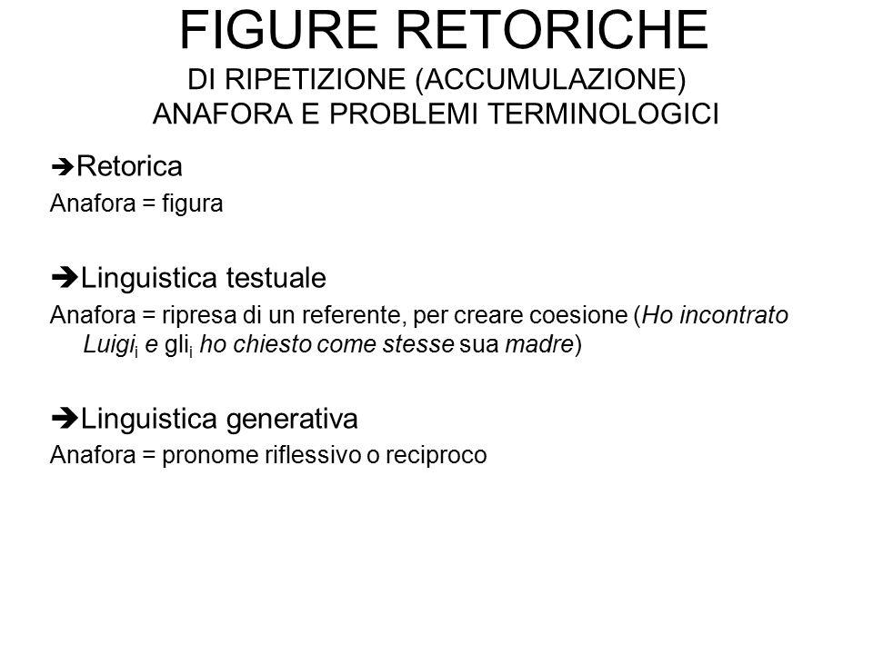 Figure retoriche di ripetizione (accumulazione) anafora e problemi terminologici