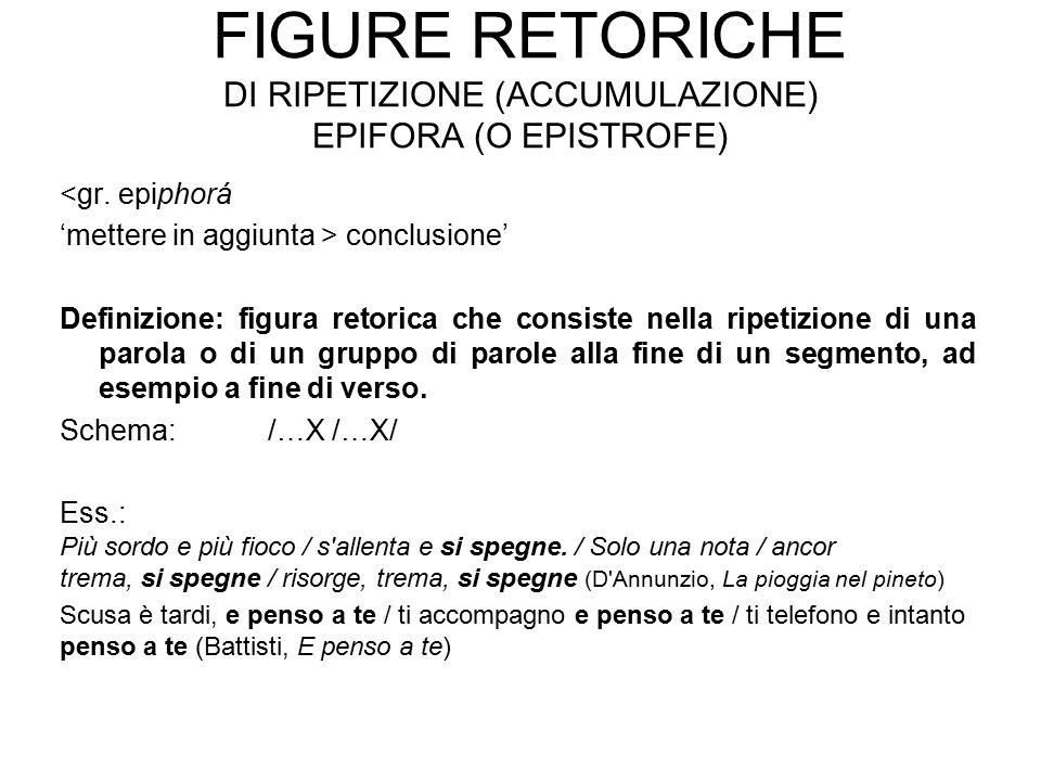 Figure retoriche di ripetizione (accumulazione) epifora (o epistrofe)