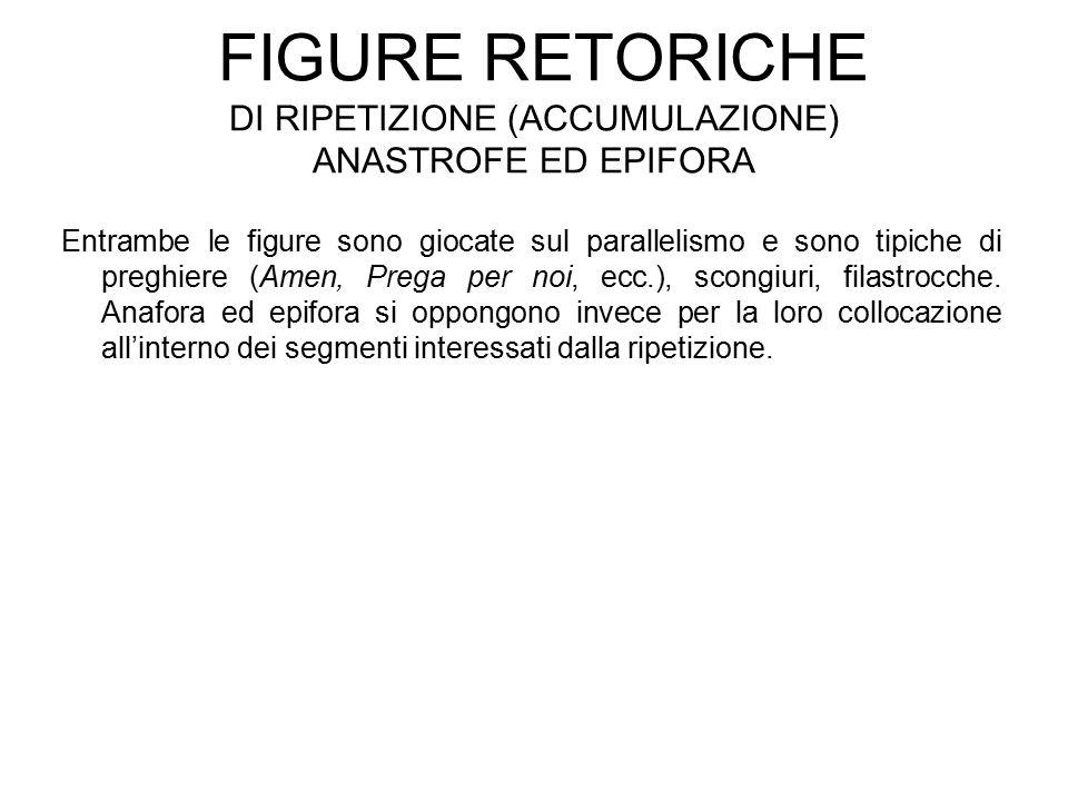 Figure retoriche di ripetizione (accumulazione) anastrofe ed epifora