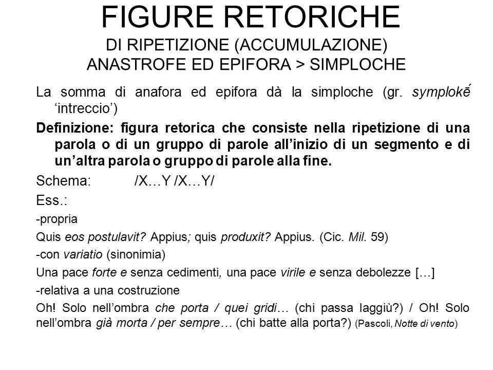 Figure retoriche di ripetizione (accumulazione) anastrofe ed epifora > simploche