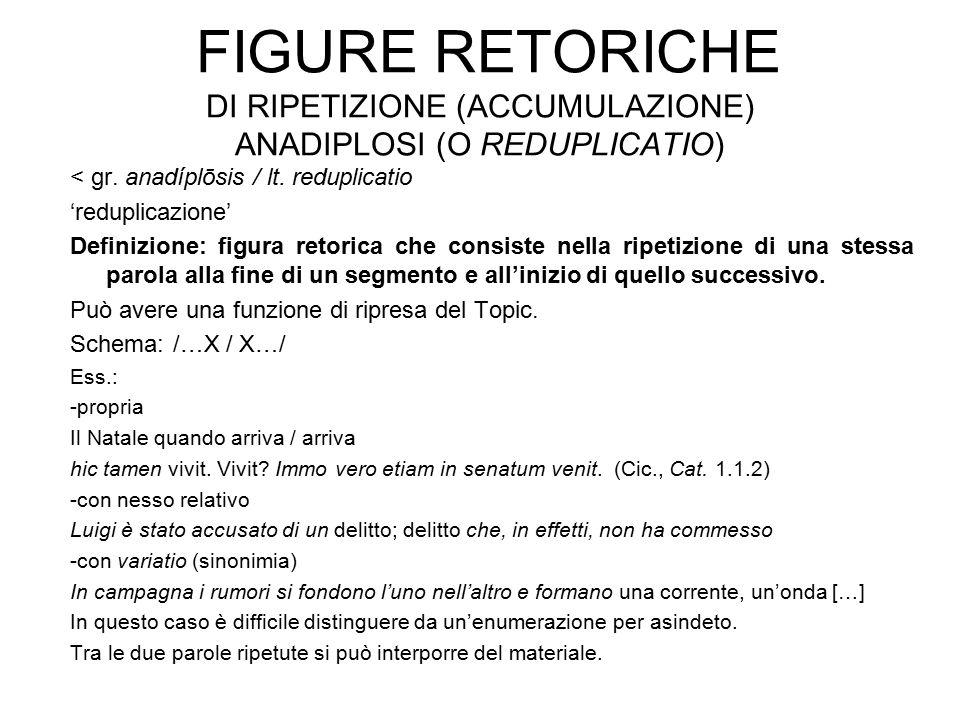 Figure retoriche di ripetizione (accumulazione) anadiplosi (o reduplicatio)