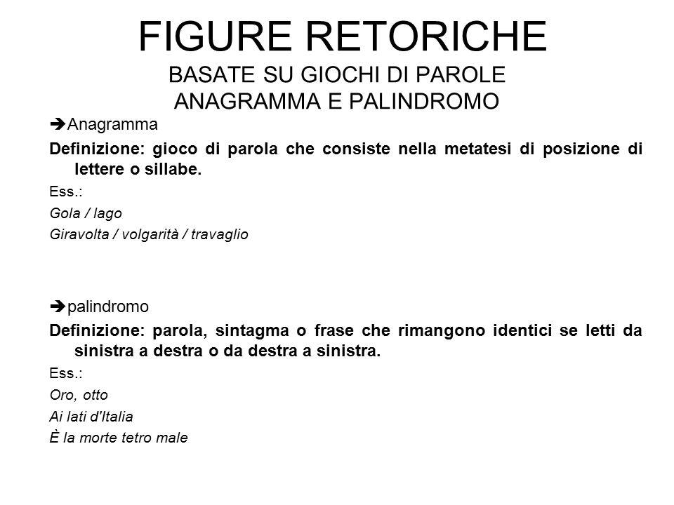 Figure retoriche basate su giochi di parole anagramma e palindromo