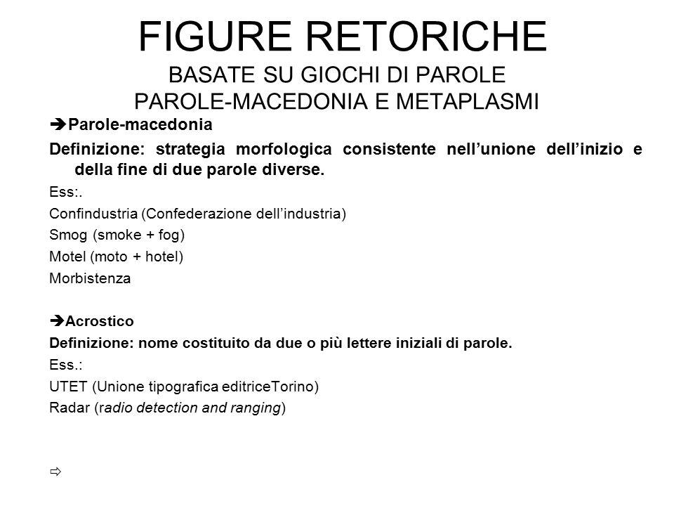 Figure retoriche basate su giochi di parole parole-macedonia e metaplasmi