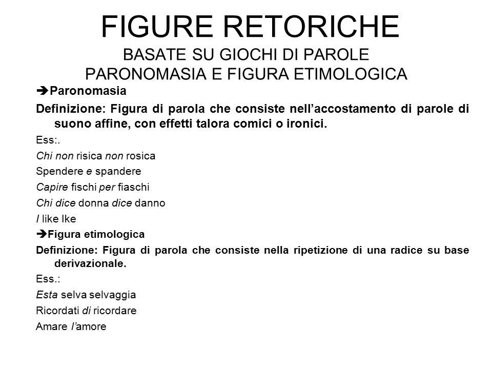 Figure retoriche basate su giochi di parole paronomasia e figura etimologica