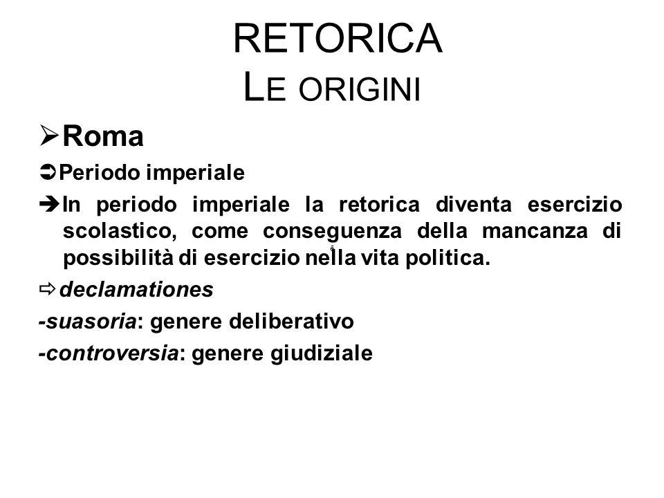 Retorica Le origini Roma Periodo imperiale