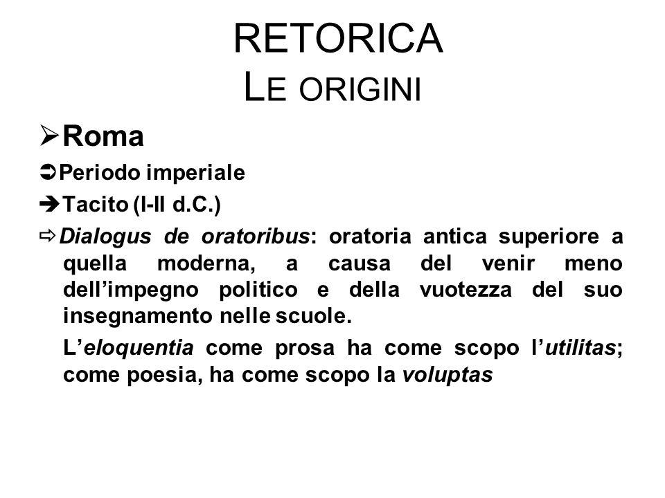 Retorica Le origini Roma Periodo imperiale Tacito (I-II d.C.)