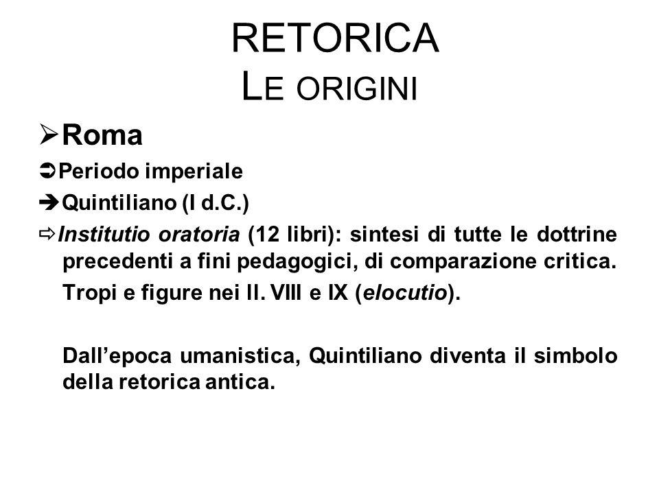 Retorica Le origini Roma Periodo imperiale Quintiliano (I d.C.)