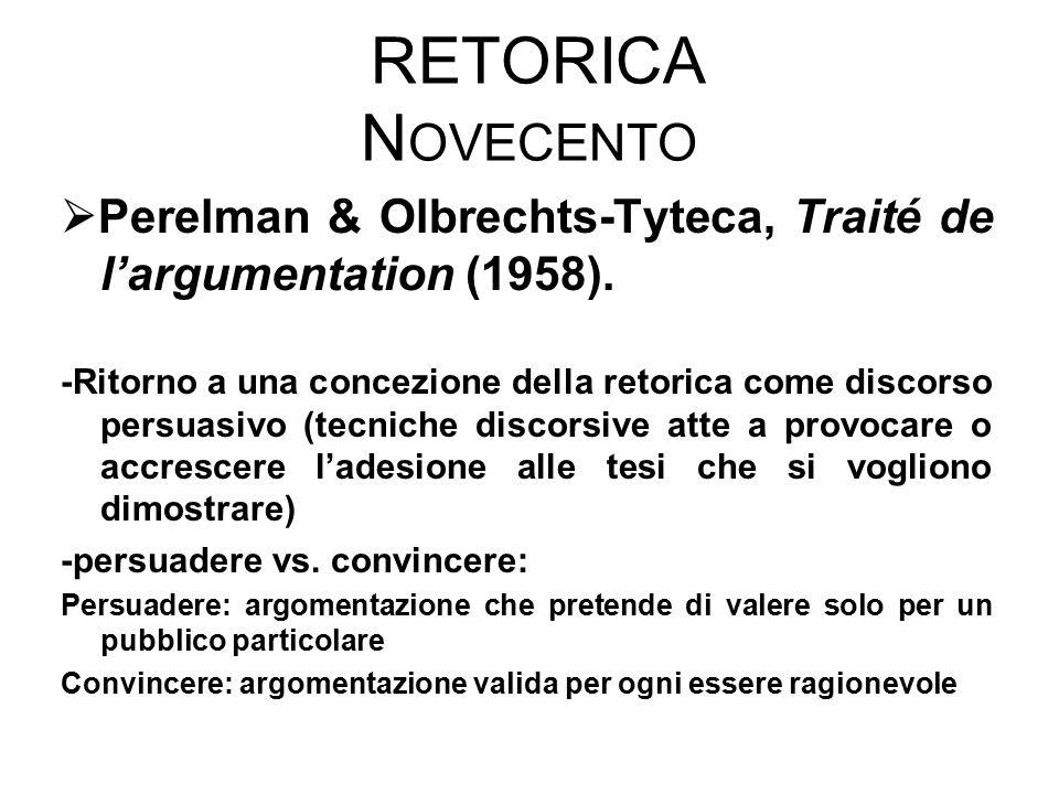 Retorica Novecento Perelman & Olbrechts-Tyteca, Traité de l'argumentation (1958).