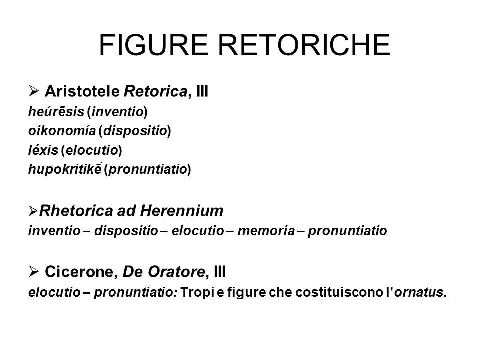 Figure retoriche  Aristotele Retorica, III
