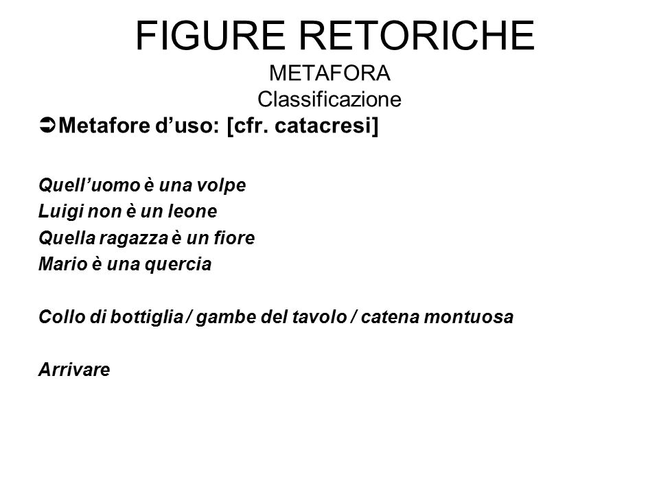 Figure retoriche Metafora Classificazione
