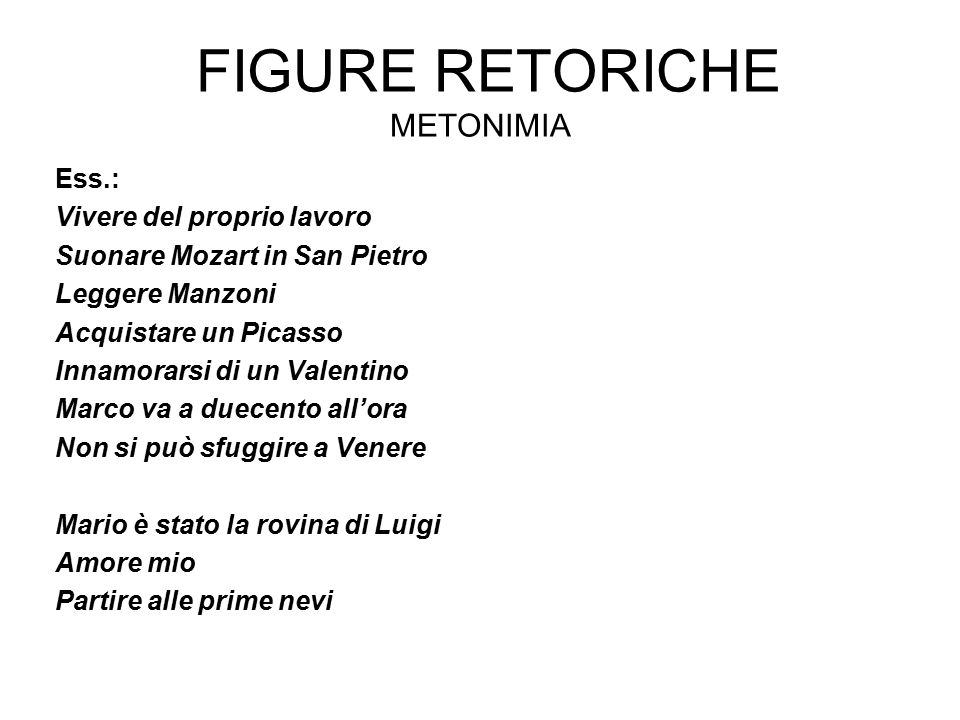 Figure retoriche Metonimia