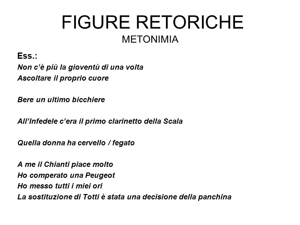 Figure retoriche Metonimia