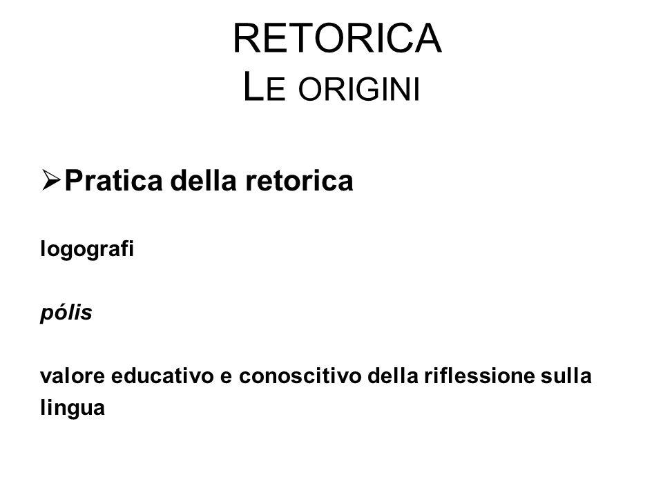 Retorica Le origini Pratica della retorica logografi pólis