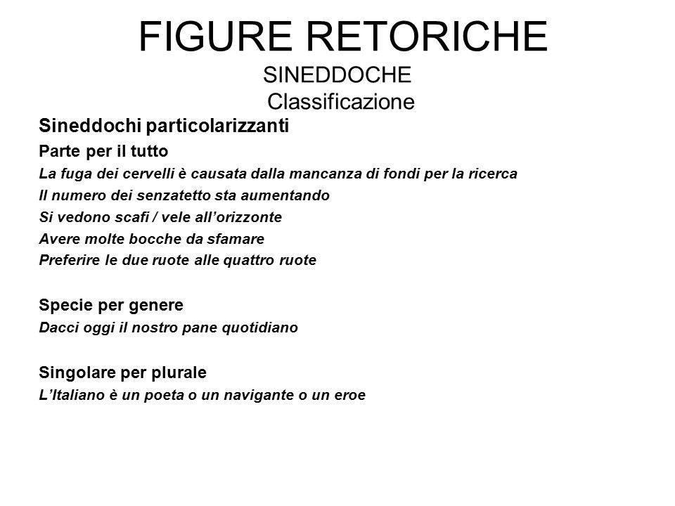 Figure retoriche sineddoche Classificazione