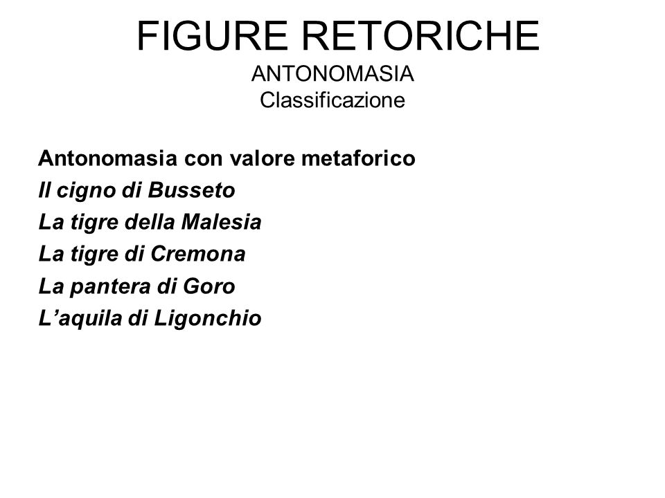 Figure retoriche antonomasia Classificazione