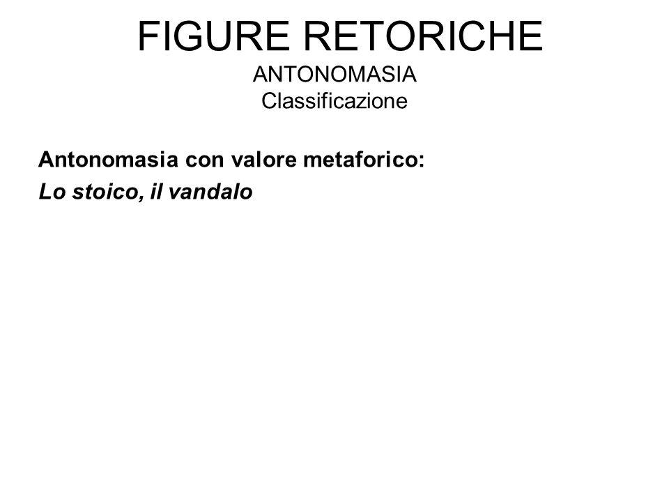 Figure retoriche antonomasia Classificazione