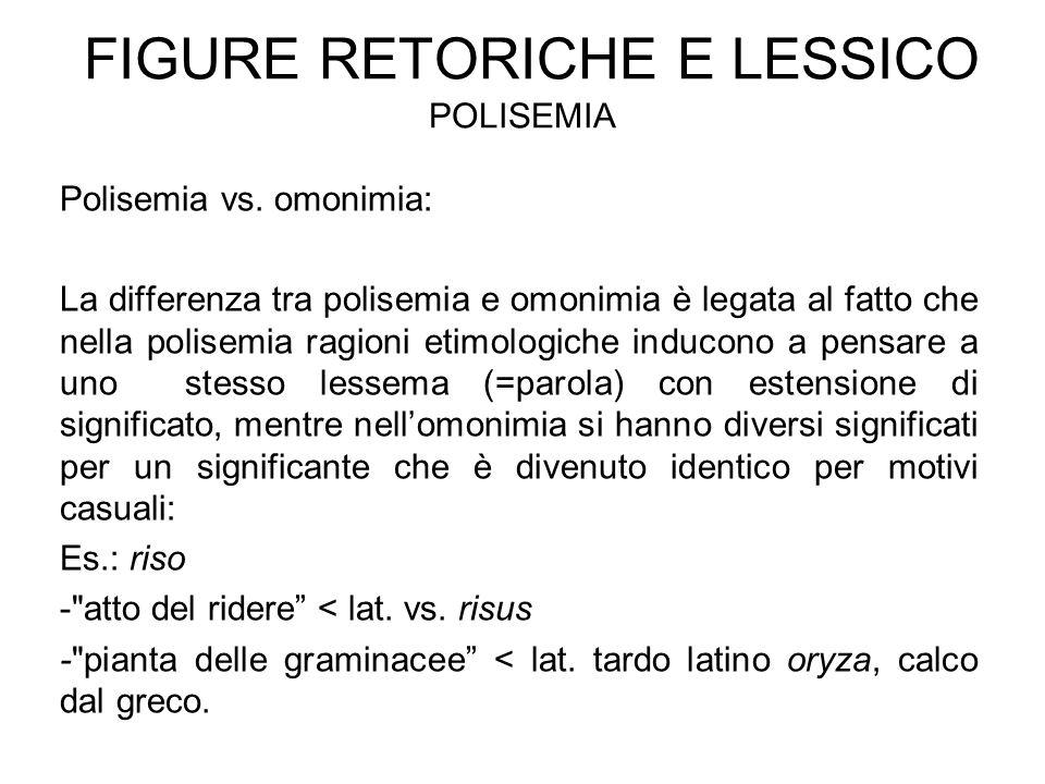 Figure retoriche e lessico polisemia