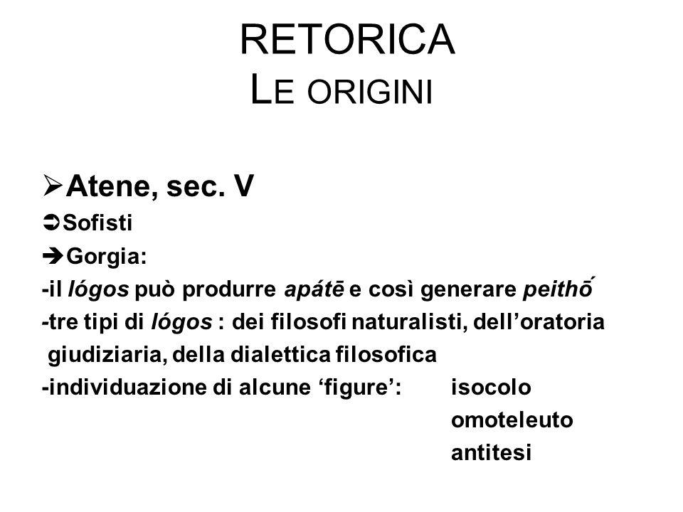Retorica Le origini Atene, sec. V Sofisti Gorgia:
