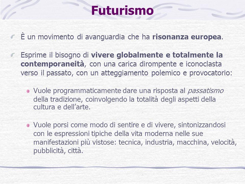 Futurismo È un movimento di avanguardia che ha risonanza europea.