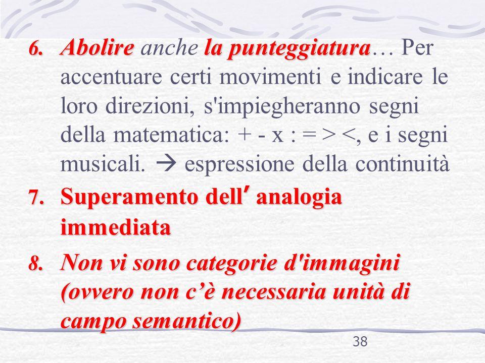 Abolire anche la punteggiatura… Per accentuare certi movimenti e indicare le loro direzioni, s impiegheranno segni della matematica: + - x : = > <, e i segni musicali.  espressione della continuità