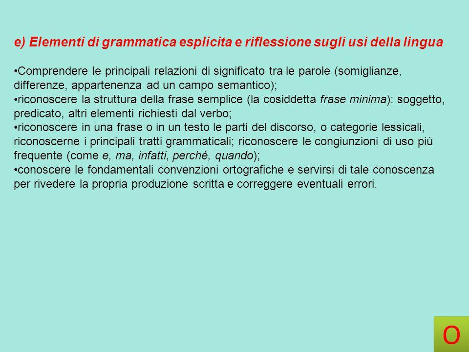 e) Elementi di grammatica esplicita e riflessione sugli usi della lingua