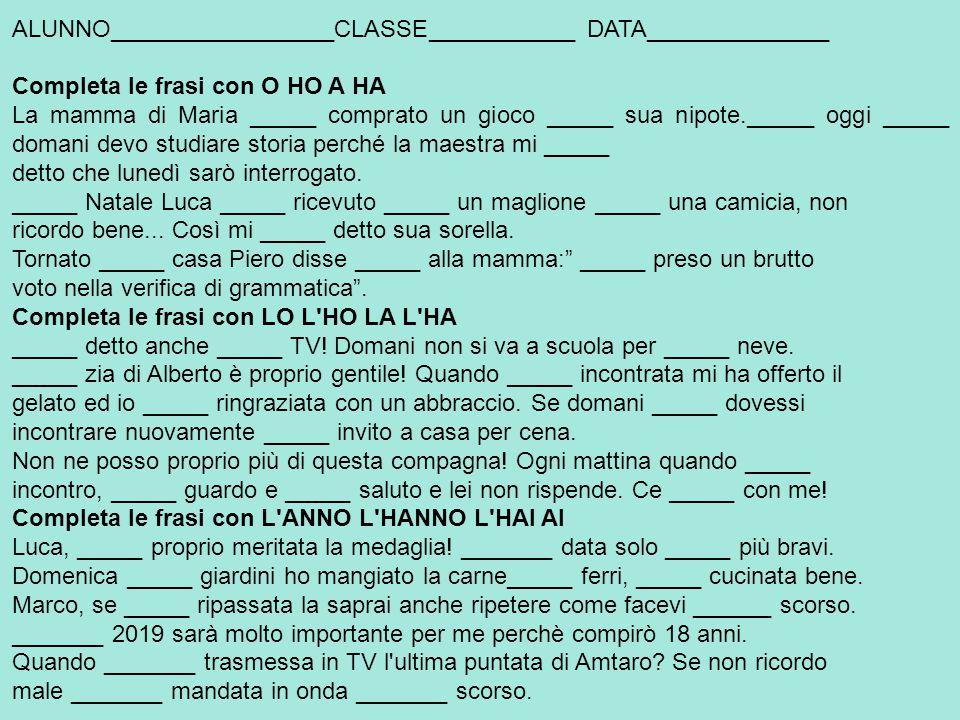 ALUNNO_________________CLASSE___________ DATA______________