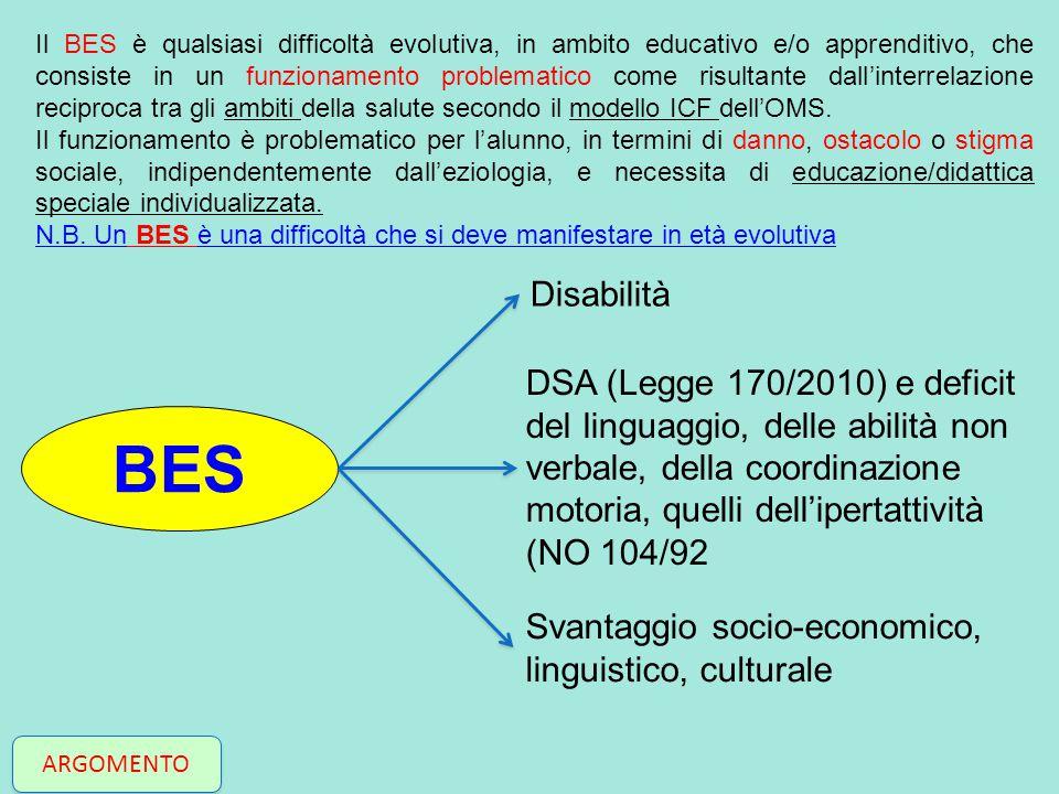 Il BES è qualsiasi difficoltà evolutiva, in ambito educativo e/o apprenditivo, che consiste in un funzionamento problematico come risultante dall'interrelazione reciproca tra gli ambiti della salute secondo il modello ICF dell'OMS.