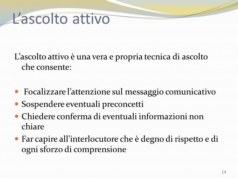 L'ascolto attivo L'ascolto attivo è una vera e propria tecnica di ascolto che consente: Focalizzare l'attenzione sul messaggio comunicativo.