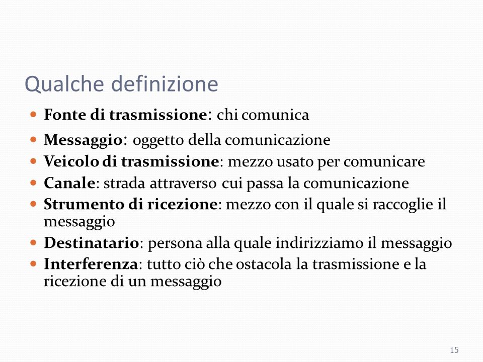 Qualche definizione Fonte di trasmissione: chi comunica