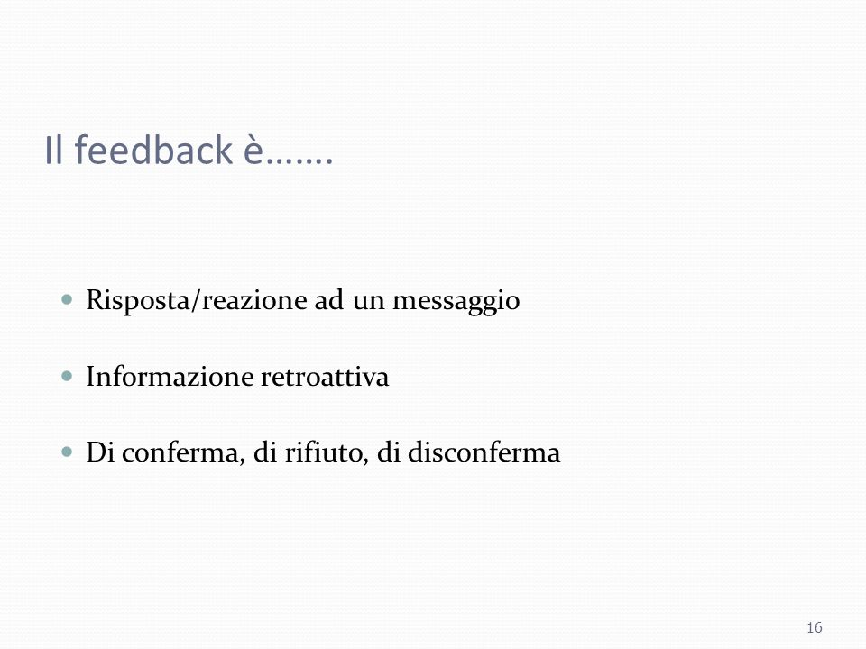 Il feedback è……. Risposta/reazione ad un messaggio
